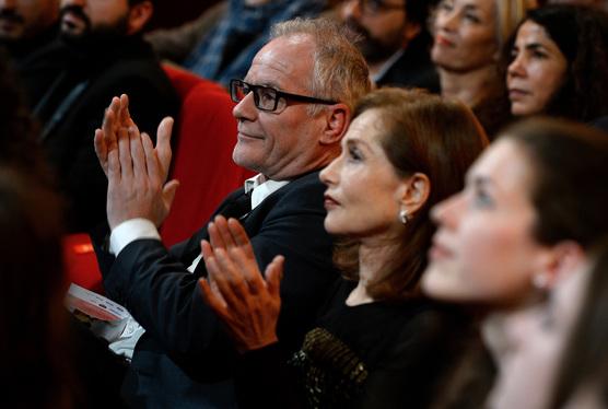 La 22e Ceremonie des Lumieres, Theatre de La Madeleine, Paris, France 30/01/2017. Thierry Fremaux et Isabelle Huppert
