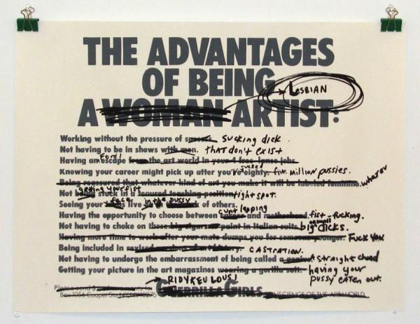 Guerrilla girls - les avantages d'être une femme artiste