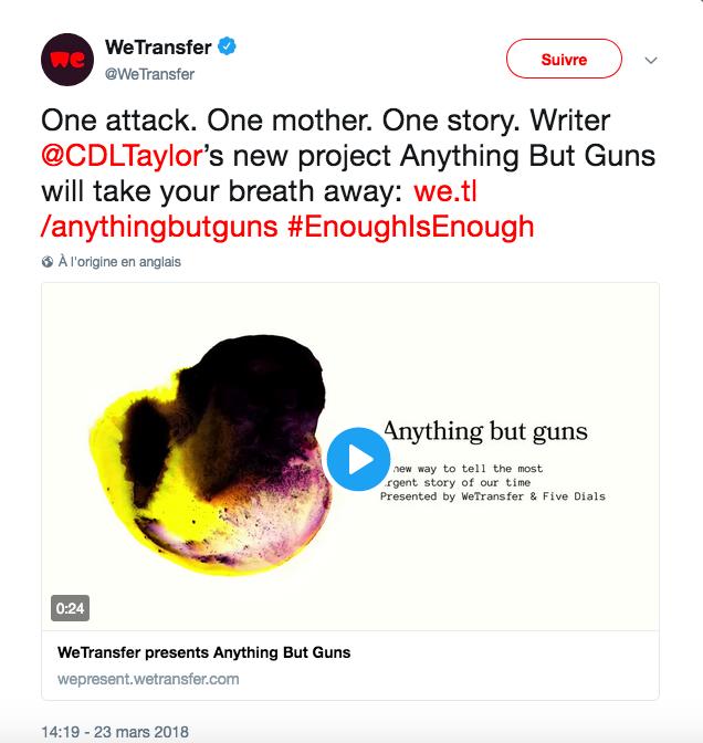 Capture Twitter Craig Taylor contre la violence des armes #EnoughIsEnough